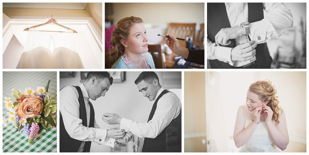 Selection of bride and groom prep photographs at Eling home