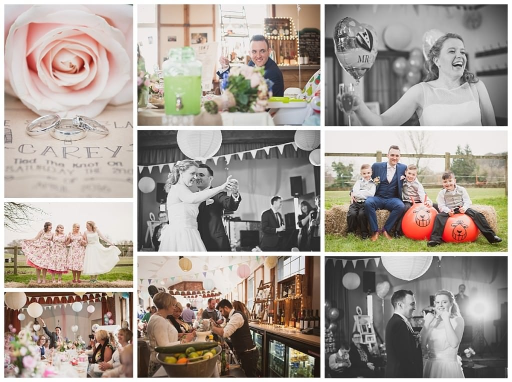 Photographs of reception at Emery Down Village Hall Wedding