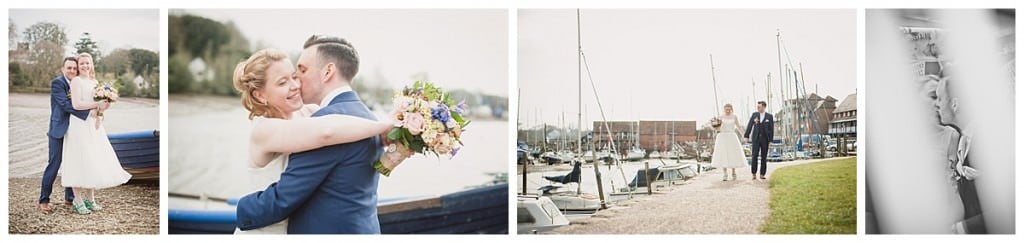 Photographs of bride and groom at eling church quay