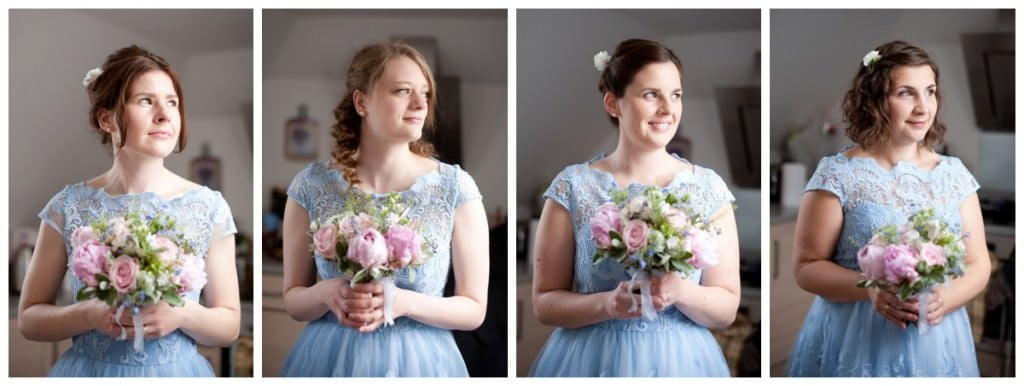 Bridesmaids is blue lace dresses and pink rustic bouquets