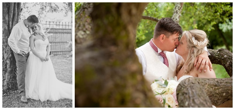 Bride and groom at Balmer Lawn New Forest