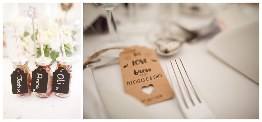 DIY table decorations at Balmer Lawn Hotel Wedding
