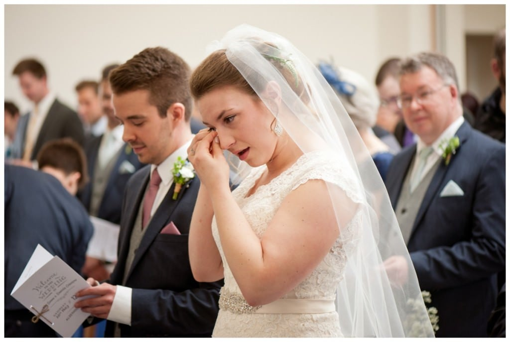 Happy tears from Bride with Father-in-law at Alderholt Church