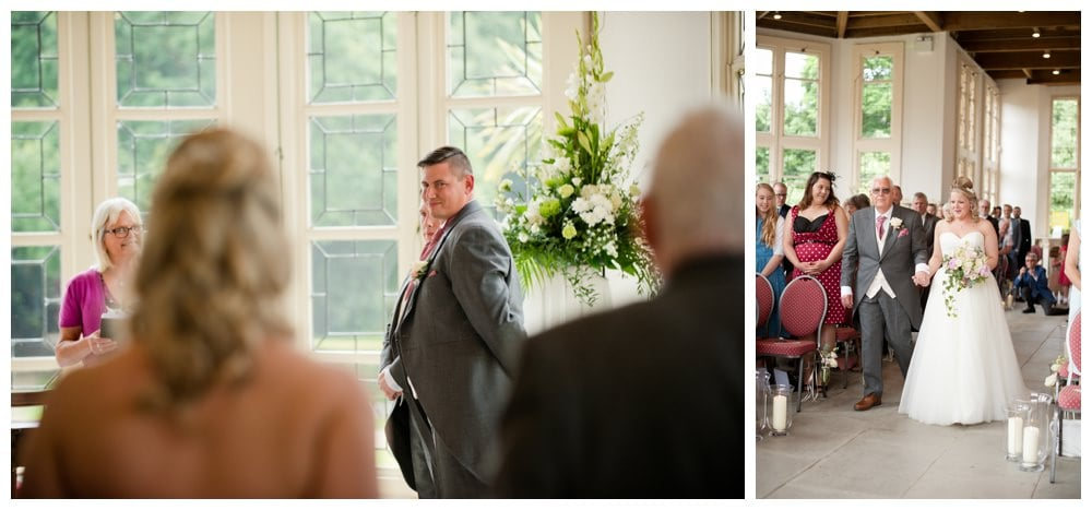 Father walking Bride down the aisle at Highcliffe Castle
