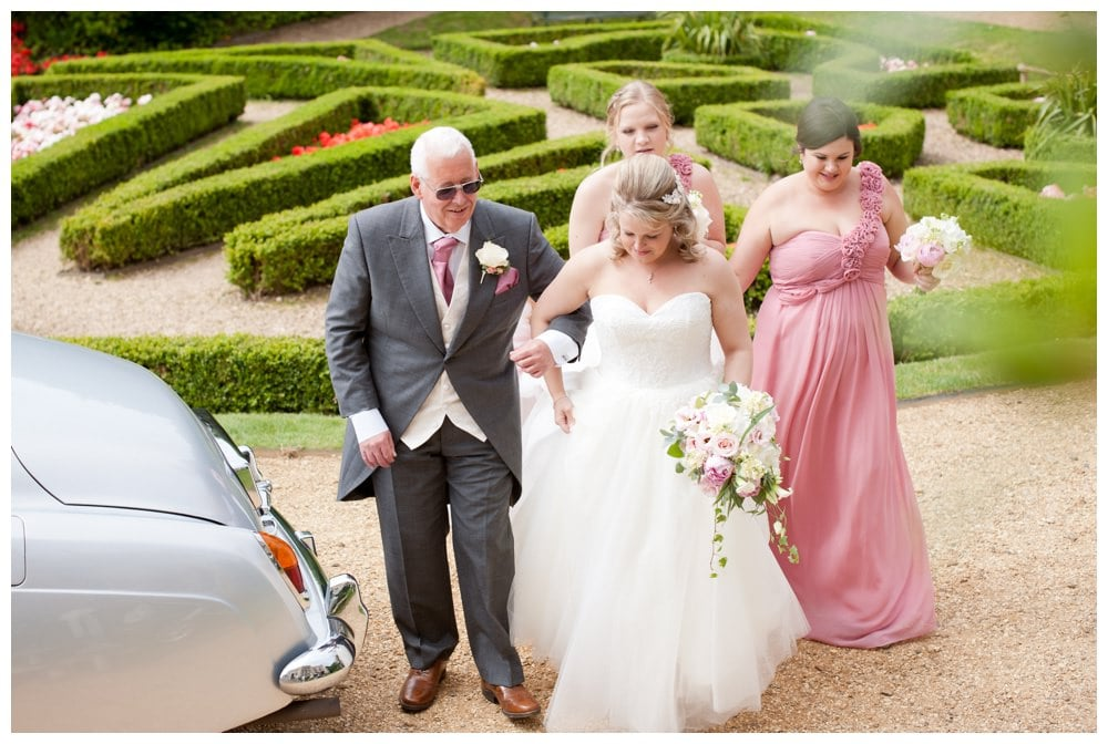 Bride and Father arriving at Highcliffe Castle