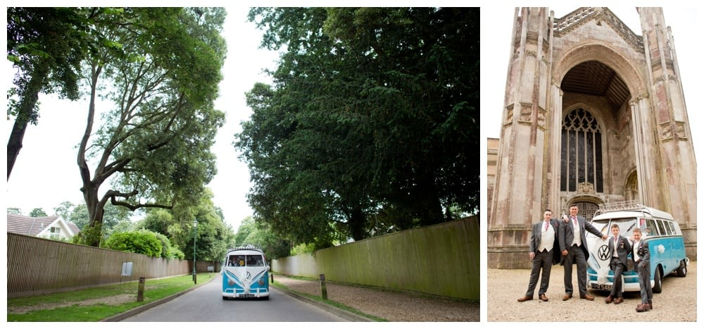 Groom in Vintage VW at Highcliffe Castle