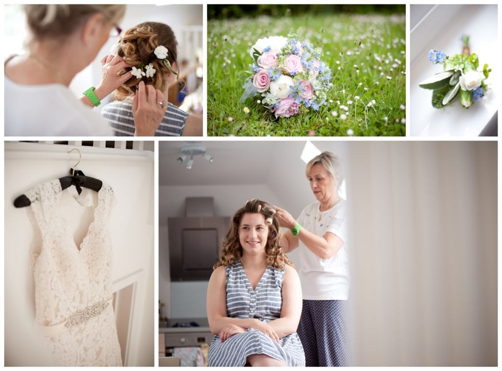 Bride getting ready at home in Ringwood with bouquet and dress