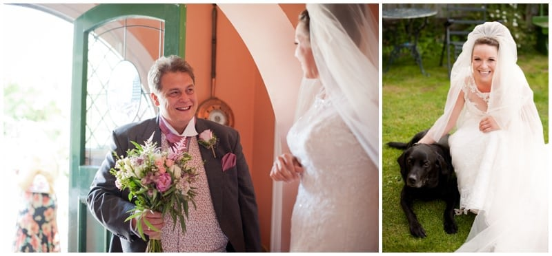 Bride with Father and dog before Crowe Hill Church