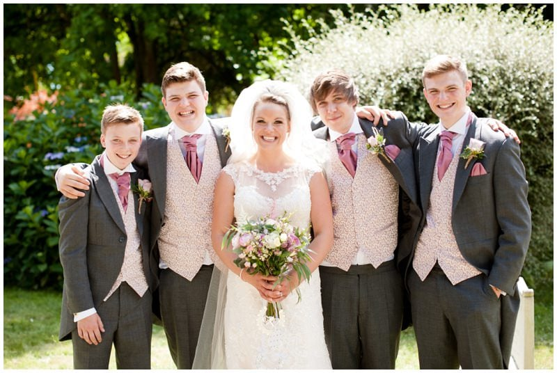 Bride with Brothers at Crowe Hill Church Wedding