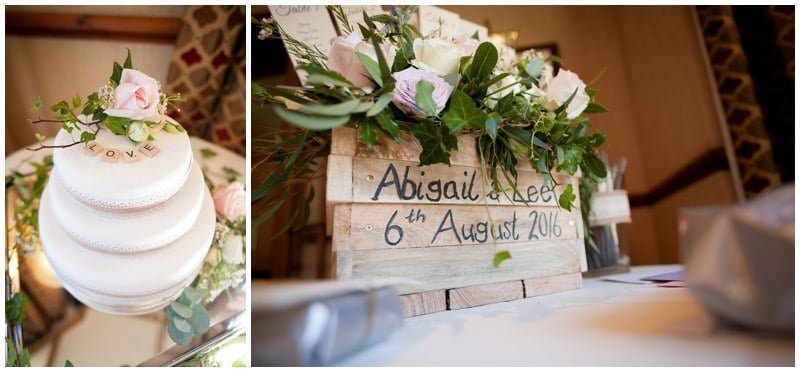 Photography of cake and decorations at Tyrrells Ford Hotel wedding reception