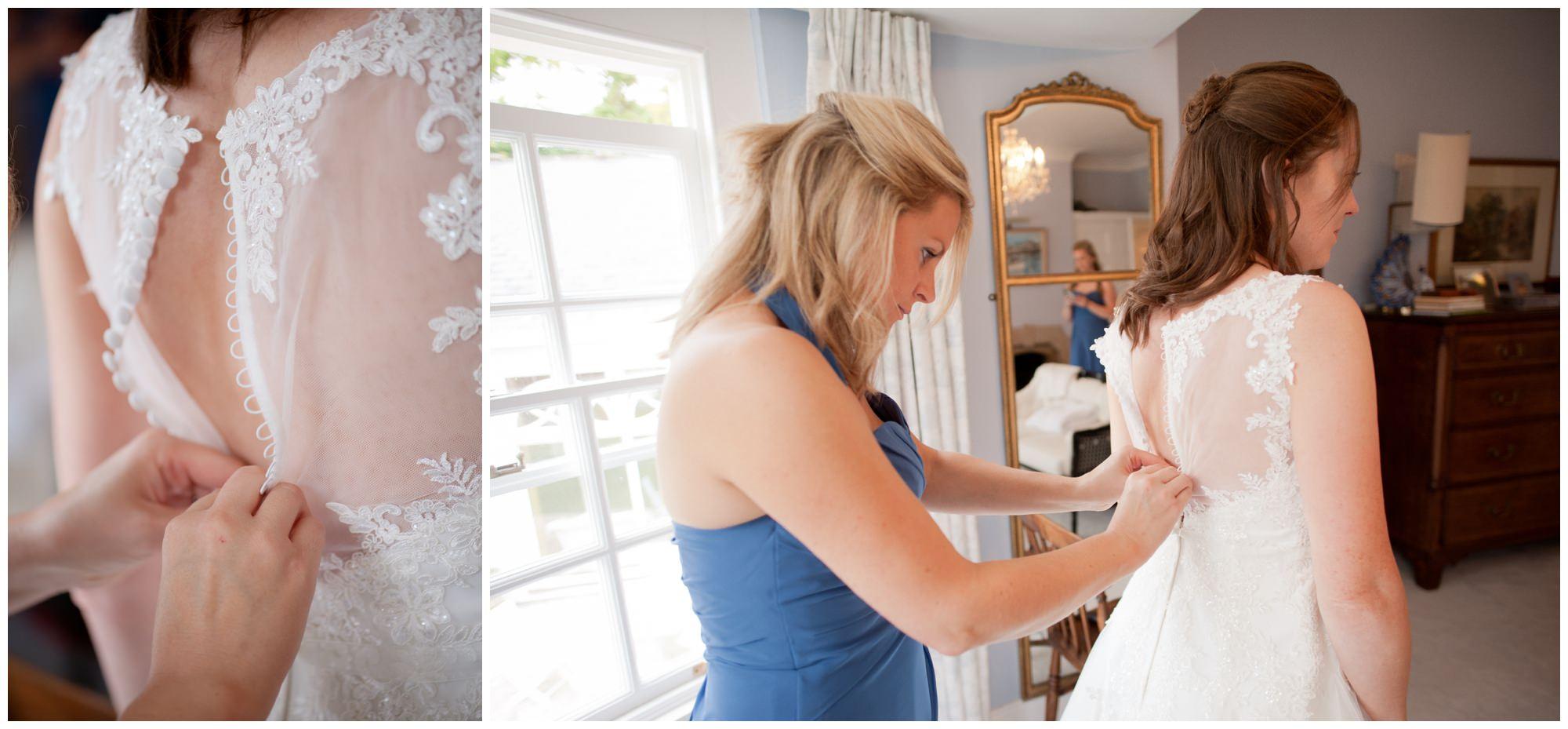 Putting on a wedding dress