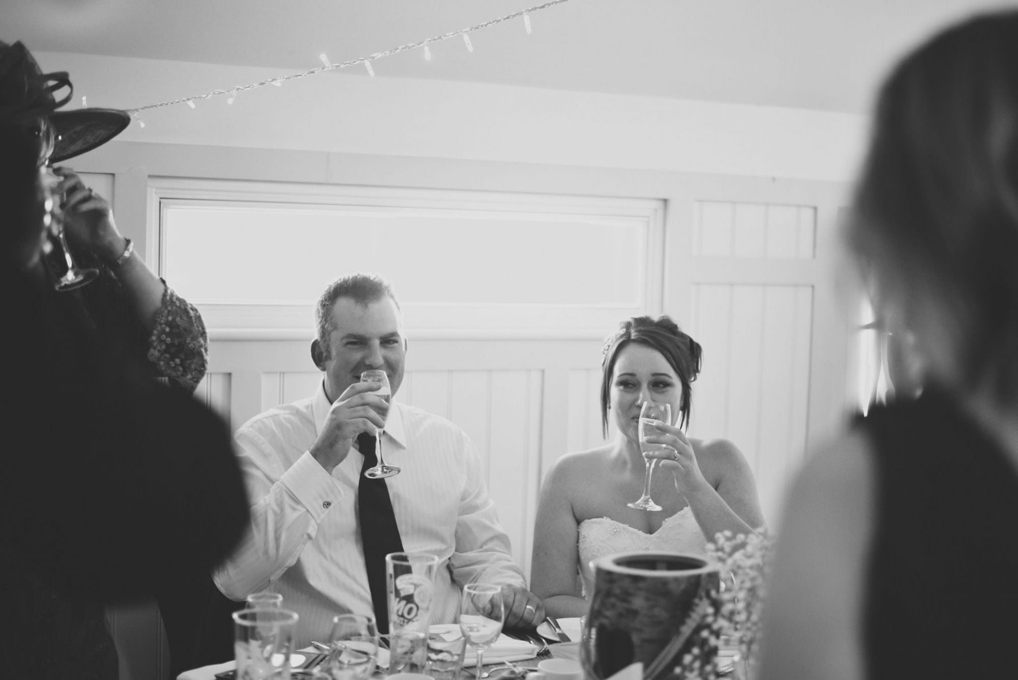 Bride and Groom during speeches at Kings Arms Hotel