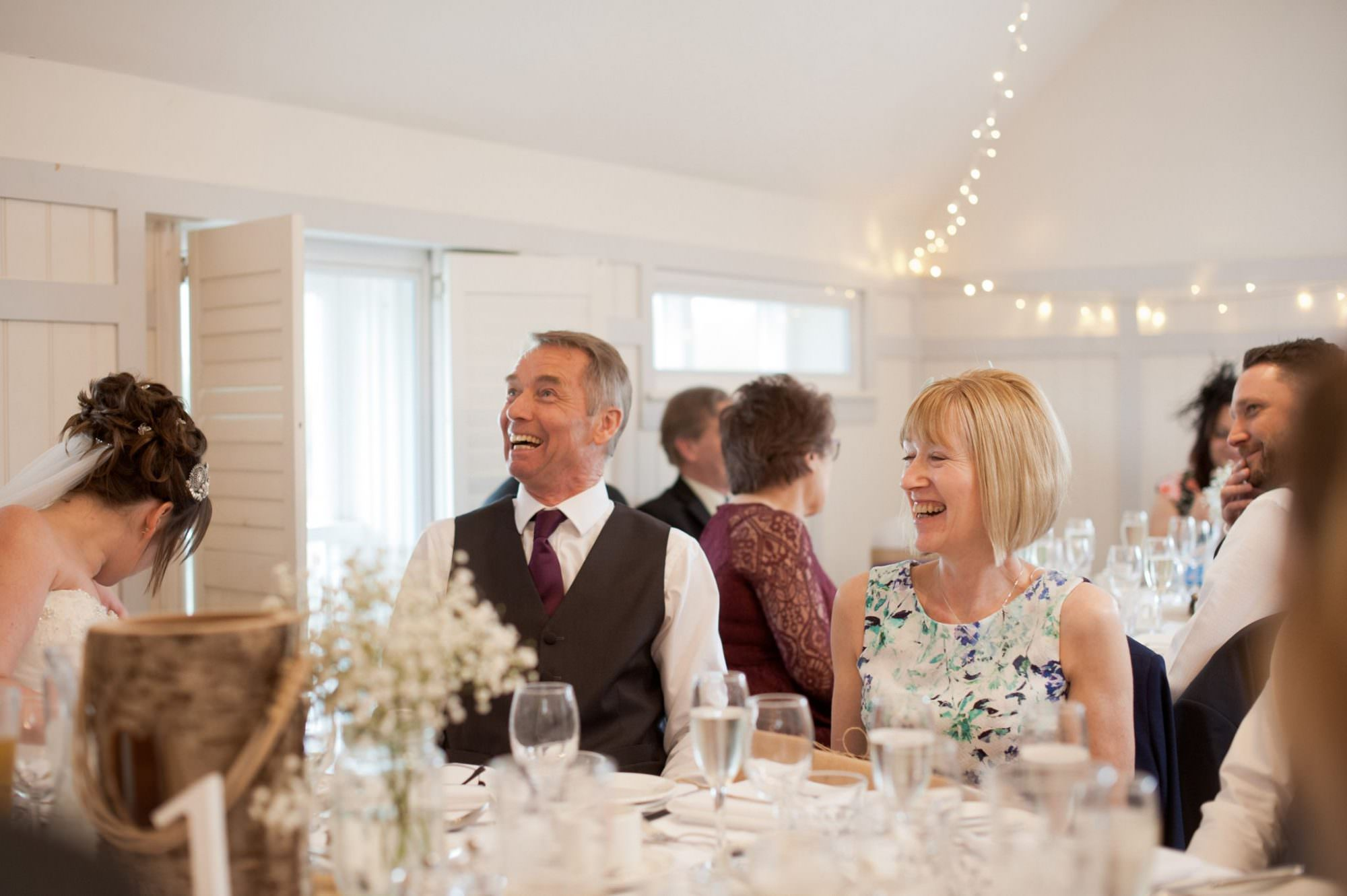 Laughter during speeches at Christchurch Wedding