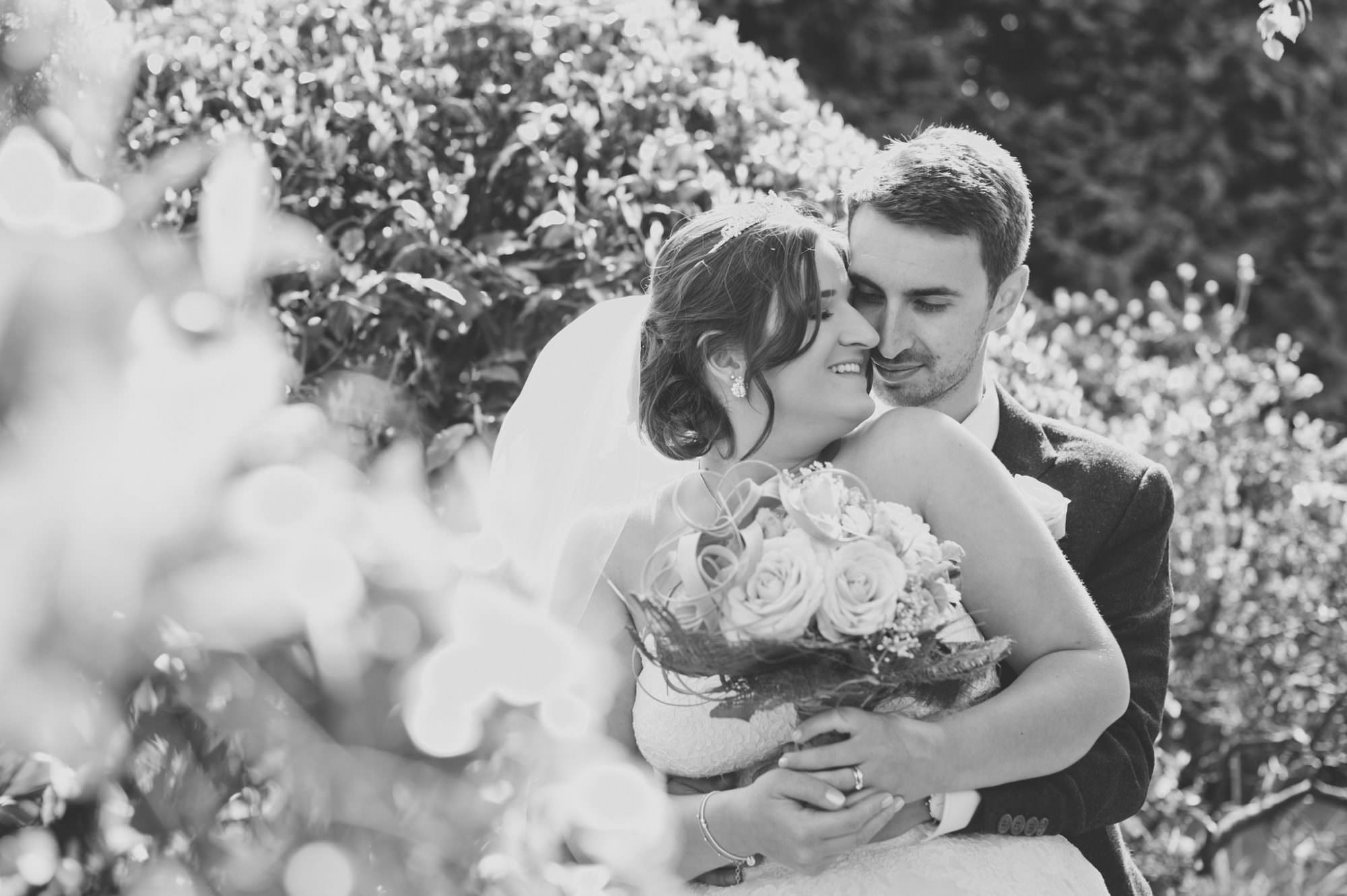 Black and white photo at New Forest Wedding