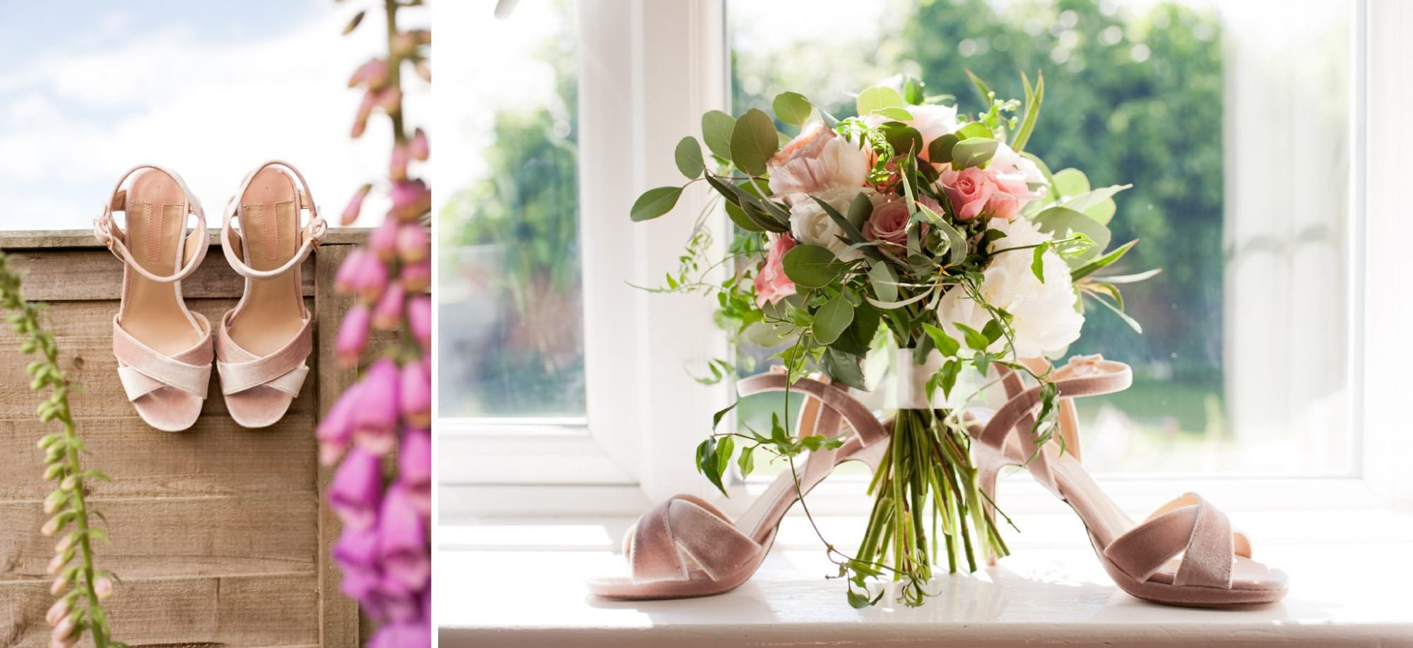 Photograph of flowers and velvet wedding shoes in Sopley