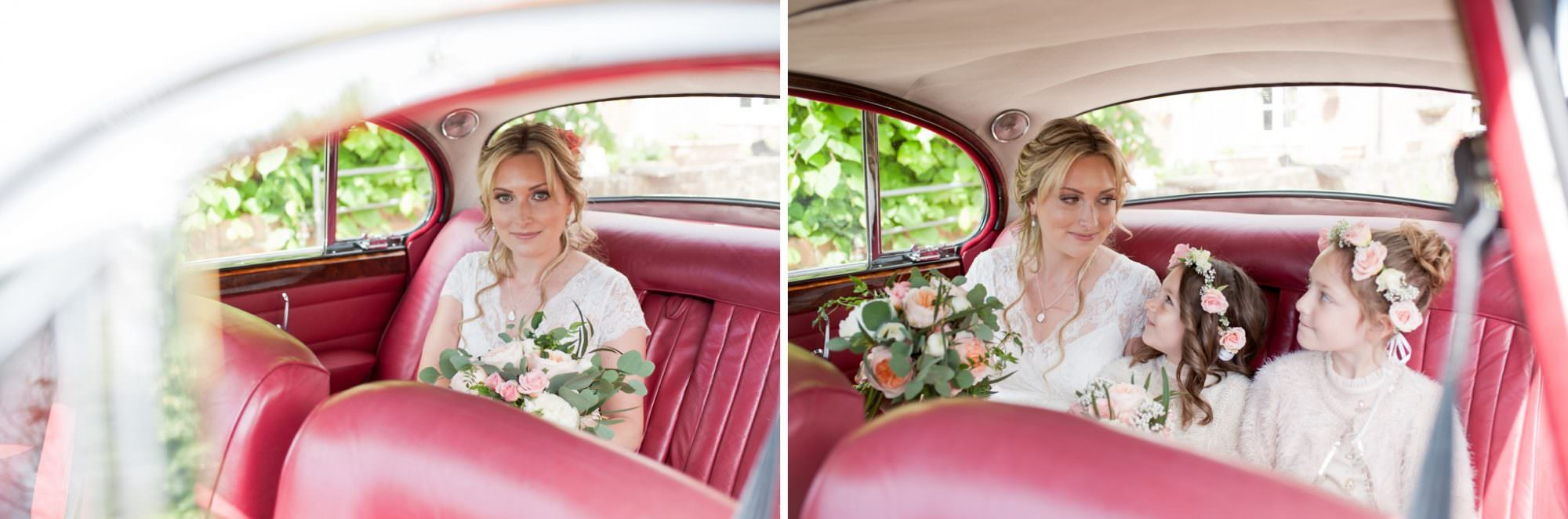 Photo of Hampshire Vintage Wedding Car in Red