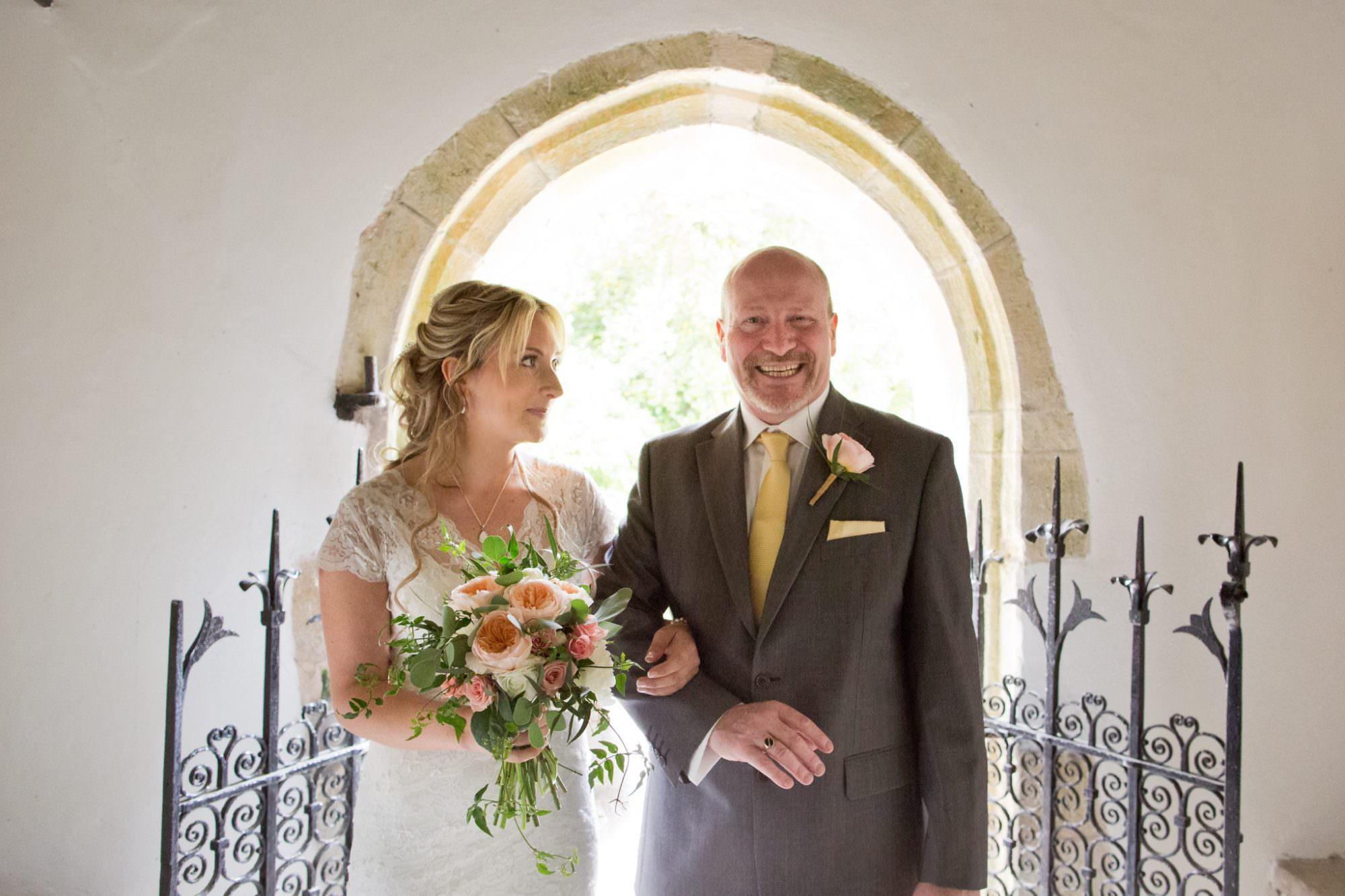 Bride at Sopley Church on Wedding Day