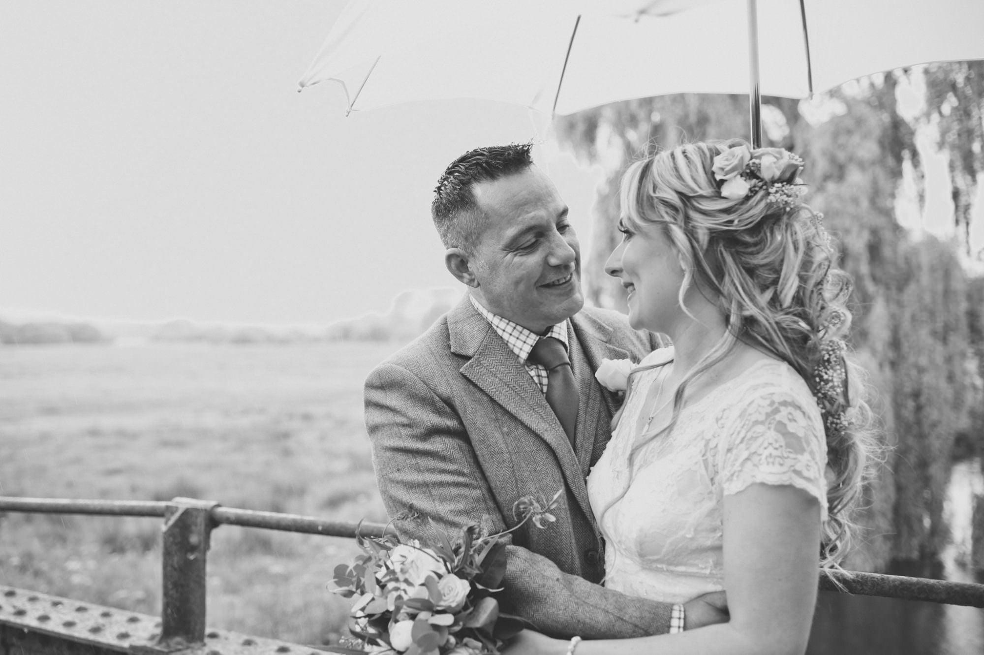 Photography at a rainy Sopley Wedding