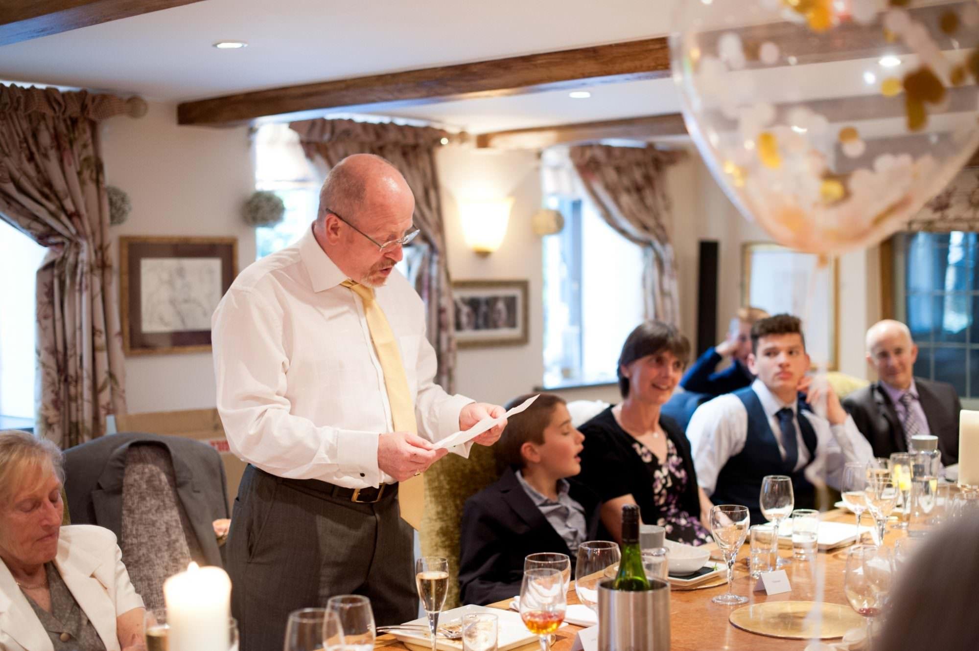 Photography of wedding speeches