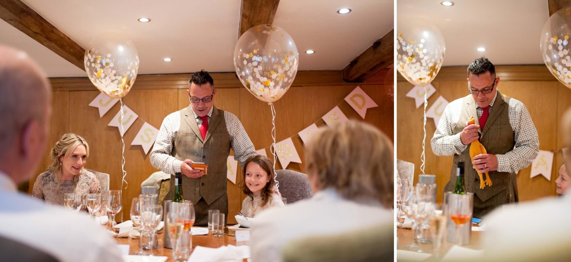 photograph of wedding speeches at Gordleton Mil